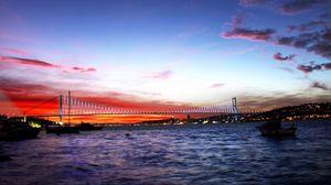 Превью обои турция, море, мост, ночь, огни города