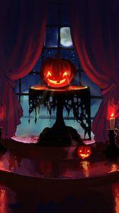 Превью обои тыква, хэллоуин, арт, свечи, ночь