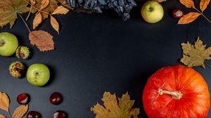 Превью обои тыква, яблоко, осень, листья