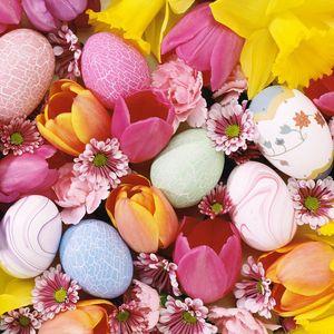Превью обои тюльпаны, яйца, пасха, фон