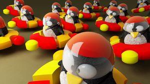 Превью обои ubuntu, логотип, пингвины, бренд, hi-tech