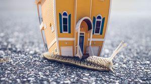 Превью обои улитка, дом, фотошоп