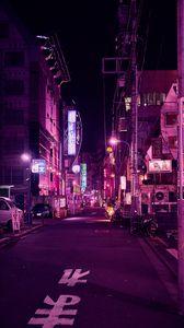 Превью обои улица, неон, ночной город, подсветка, фиолетовый, токио