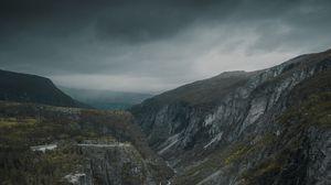 Превью обои ущелье, скалы, горы, река, водопад