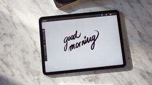 Превью обои утро, планшет, надпись, фраза, текст