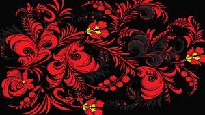 Превью обои узор, хохлома, цветы, красный