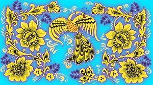 Превью обои узор, хохлома, птица, цветы