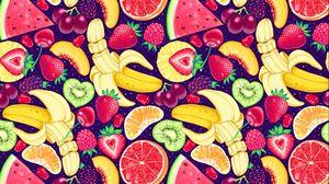 Превью обои узор, яркий, аппетитный, банан, клубника, апельсин, киви, арбуз, виноград, вишня, малина, ежевика, манго
