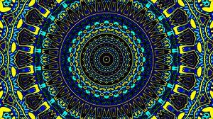 Превью обои узор, круги, абстракция, синий, желтый