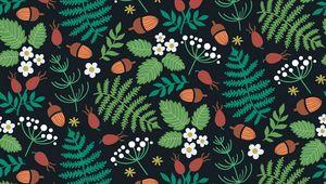 Превью обои узор, лесной, мотив, листья, ягоды, желуди, земляника