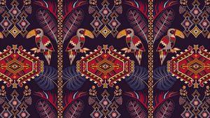 Превью обои узор, орнамент, мотив, туканы, разноцветный