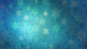 Превью обои узор, снежинки, рождество, новый год, праздник, синий
