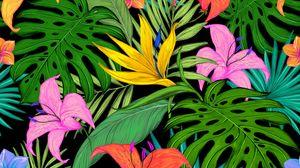 Превью обои узор, тропический, цветы, листья, лилии, пальмы, цветной