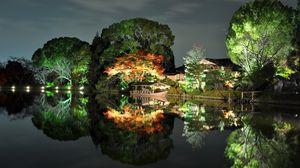 Превью обои вечер, деревья, свет, дом, берег, япония, отражение, лодка