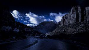 Превью обои вечер, дорога, скалы, небо