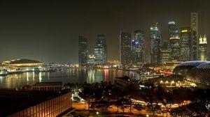Превью обои вечер, огни, дорога, улица, сингапур