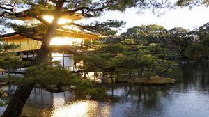 Превью обои вечер, япония, особняк, вода, сад, деревья
