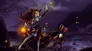 Превью обои ведьма, магия, ночь, арт