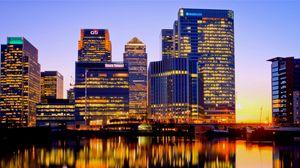 Превью обои великобритания, англия, лондон, ночь, здания, река, отражение, огни города