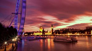 Превью обои великобритания, англия, лондон, столица, колесо обозрения, вечер, архитектура, огни, подсветка, набережная, река, темза