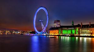 Превью обои великобритания, англия, лондон, столица, колесо обозрения, вечер, здания, архитектура, огни, подсветка, река, темза