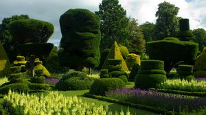 Превью обои великобритания, bodnant gardens wales, газоны, клумбы, кусты