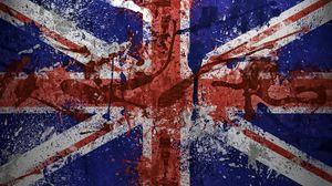 Превью обои великобритания, флаг, краска, пятна, текстура