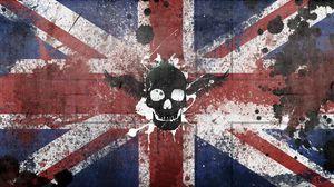 Превью обои великобритания, соединенное королевство, символика, флаг, краска, череп