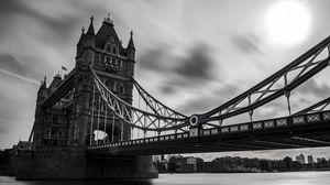 Превью обои великобритания, тауэрский мост, лондон, чб