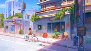 Превью обои велосипед, арт, девушка, улица, здания, лето