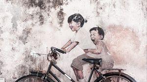 Превью обои велосипед, арт, забавный