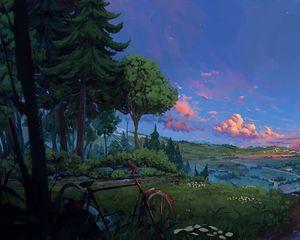 Превью обои велосипед, деревья, арт, лес, пейзаж, лето