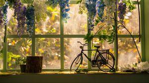 Превью обои велосипед, окно, статуэтка, цветы