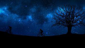 Превью обои велосипедист, звездное небо, силуэт