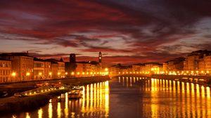 Превью обои венеция, канал, город, мост, огни города