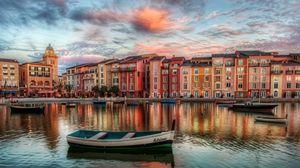 Превью обои венеция, venice, река, причал, здание, небо