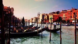 Превью обои венеция, италия, гондолы, река