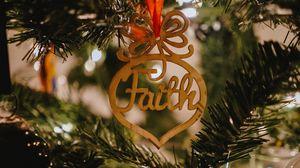 Превью обои вера, слово, украшение, елка