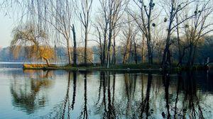 Превью обои весна, парк, деревья, вода, озеро