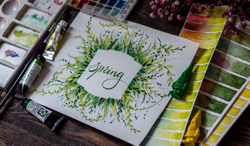 1024x600 Обои весна, слово, леттеринг, краски, акварель