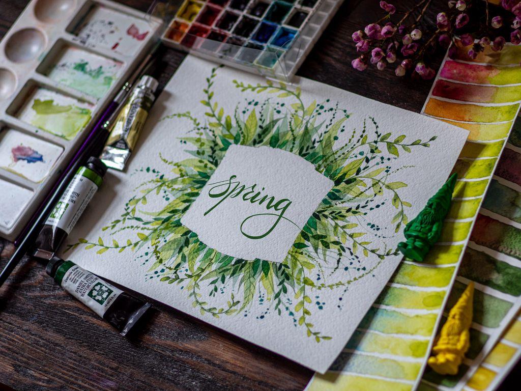 1024x768 Обои весна, слово, леттеринг, краски, акварель