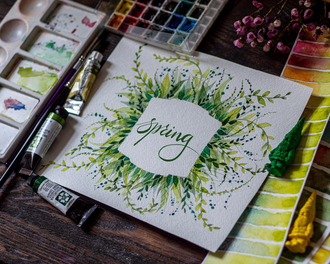 1280x1024 Обои весна, слово, леттеринг, краски, акварель