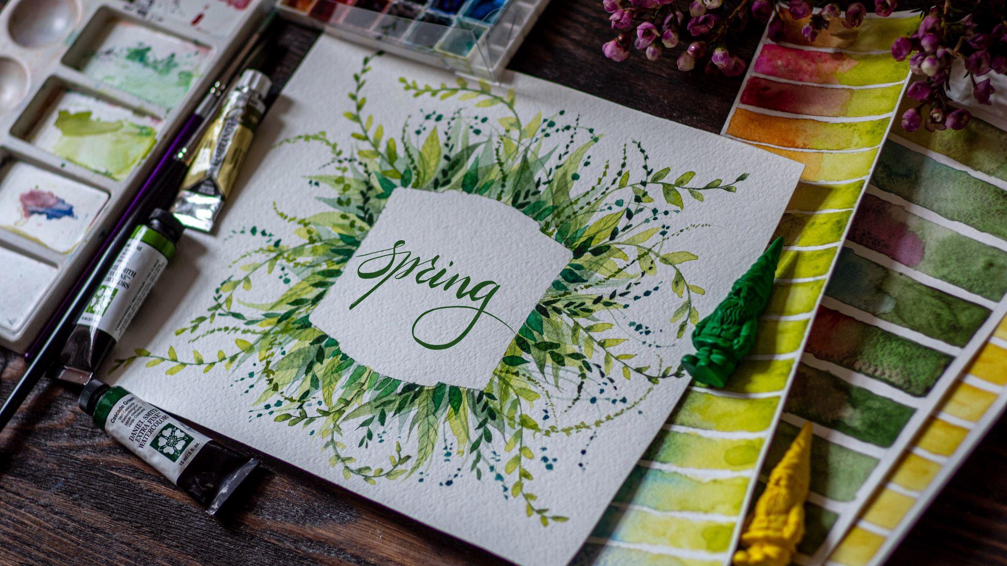 2048x1152 Обои весна, слово, леттеринг, краски, акварель