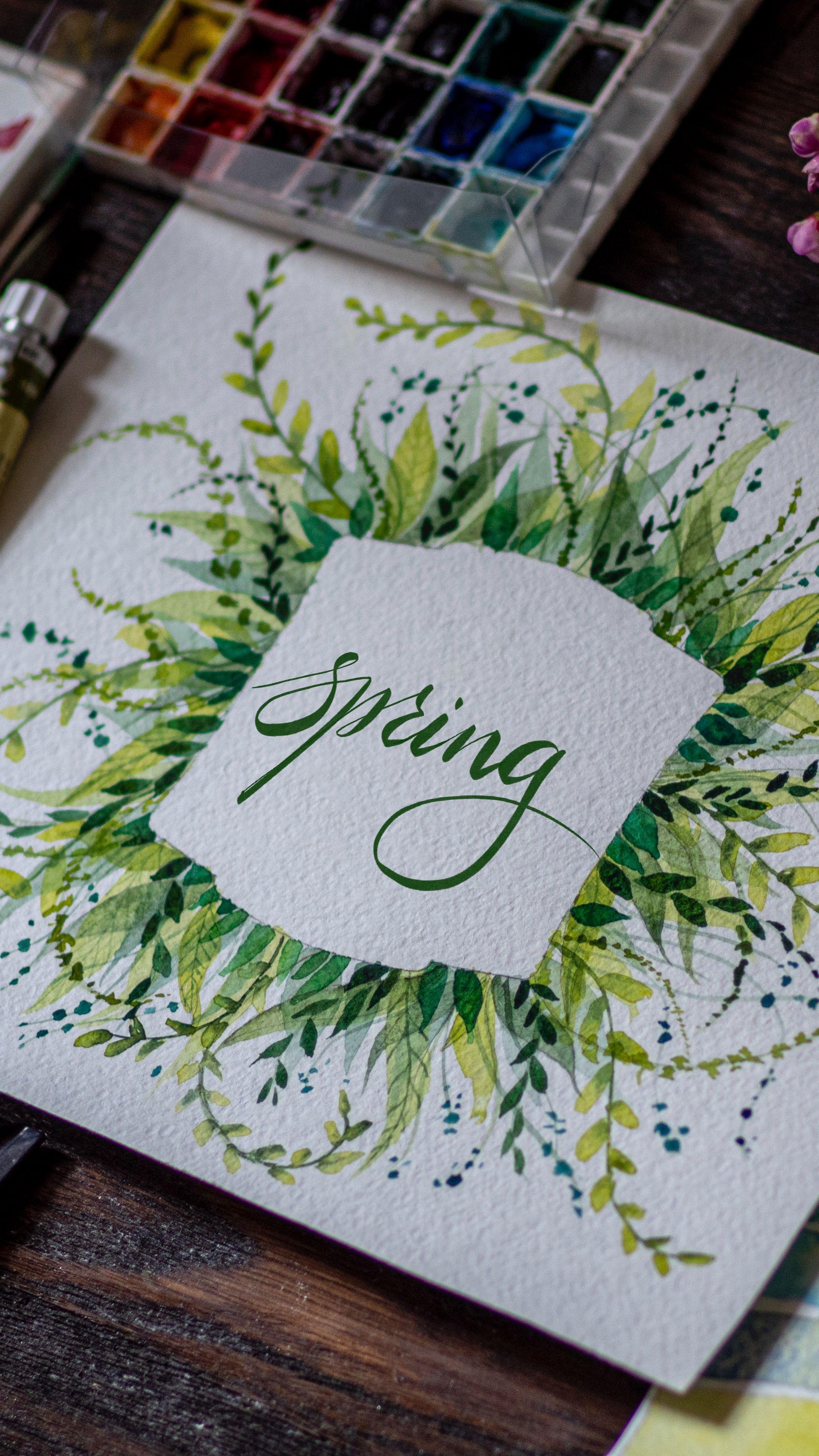 2160x3840 Обои весна, слово, леттеринг, краски, акварель