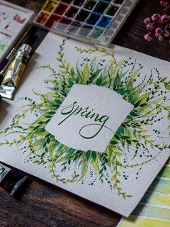 240x320 Обои весна, слово, леттеринг, краски, акварель