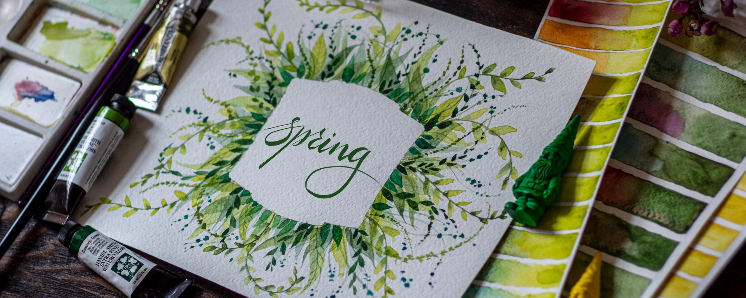 2560x1024 Обои весна, слово, леттеринг, краски, акварель
