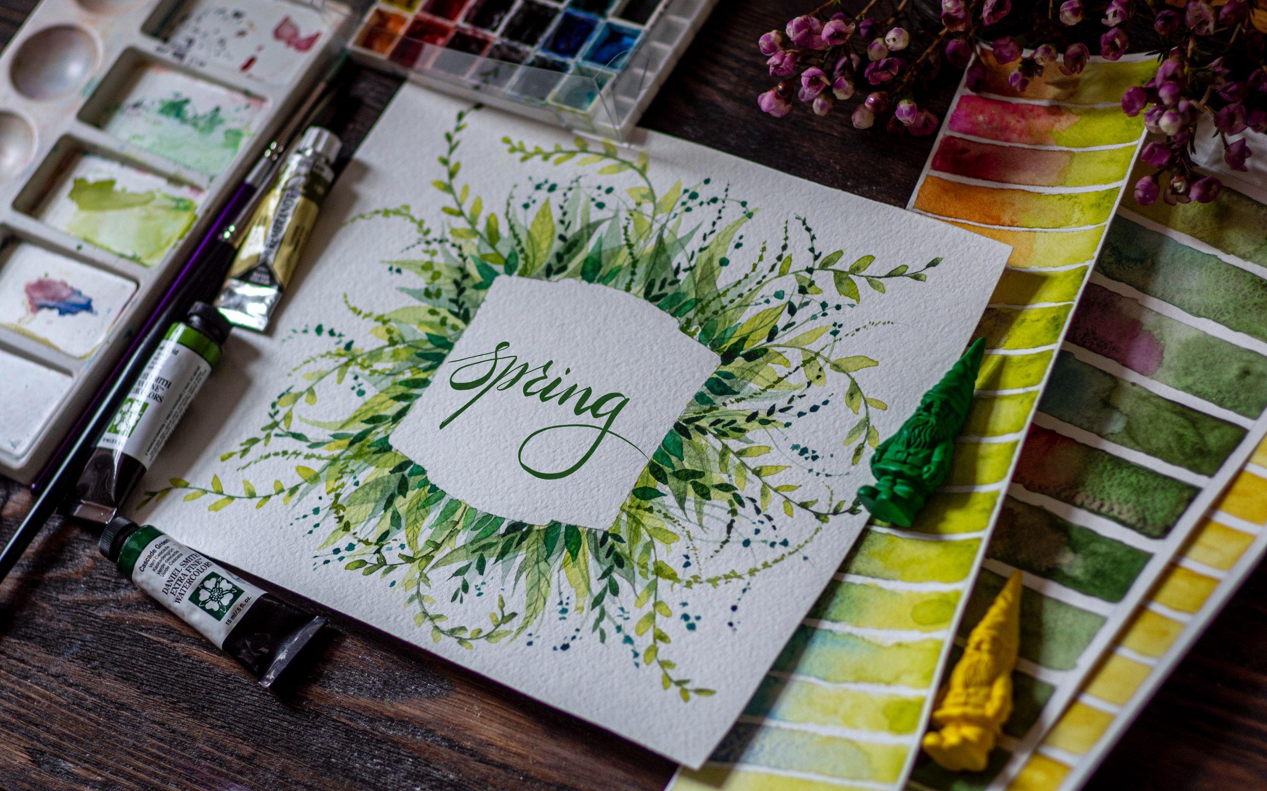 2560x1600 Обои весна, слово, леттеринг, краски, акварель