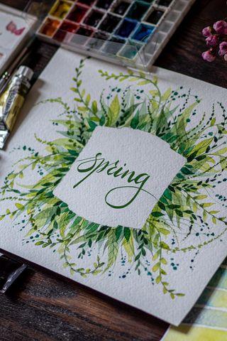 320x480 Обои весна, слово, леттеринг, краски, акварель