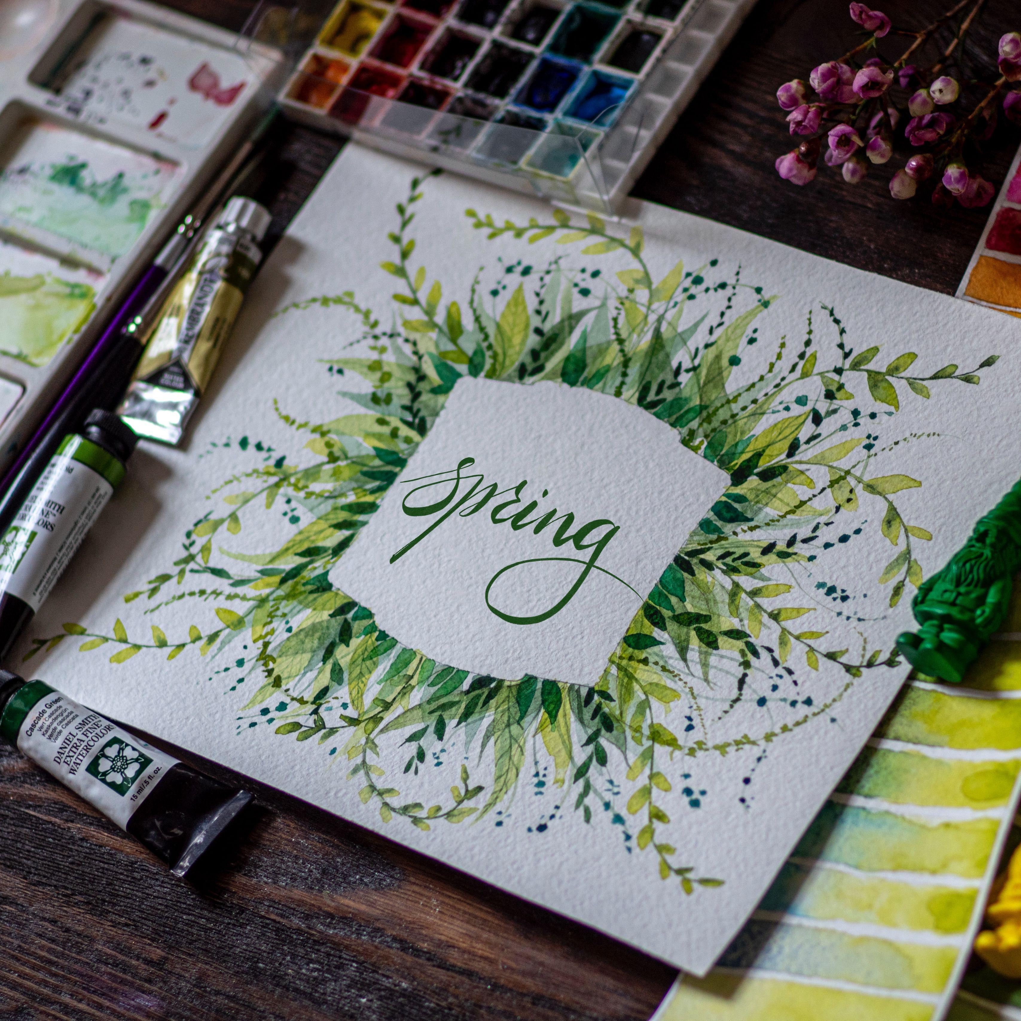 3415x3415 Обои весна, слово, леттеринг, краски, акварель