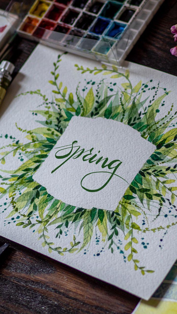720x1280 Обои весна, слово, леттеринг, краски, акварель